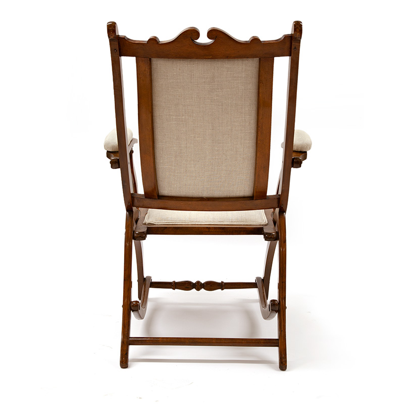 Chunky Reupholstered Antique Mahogany Folding Chair