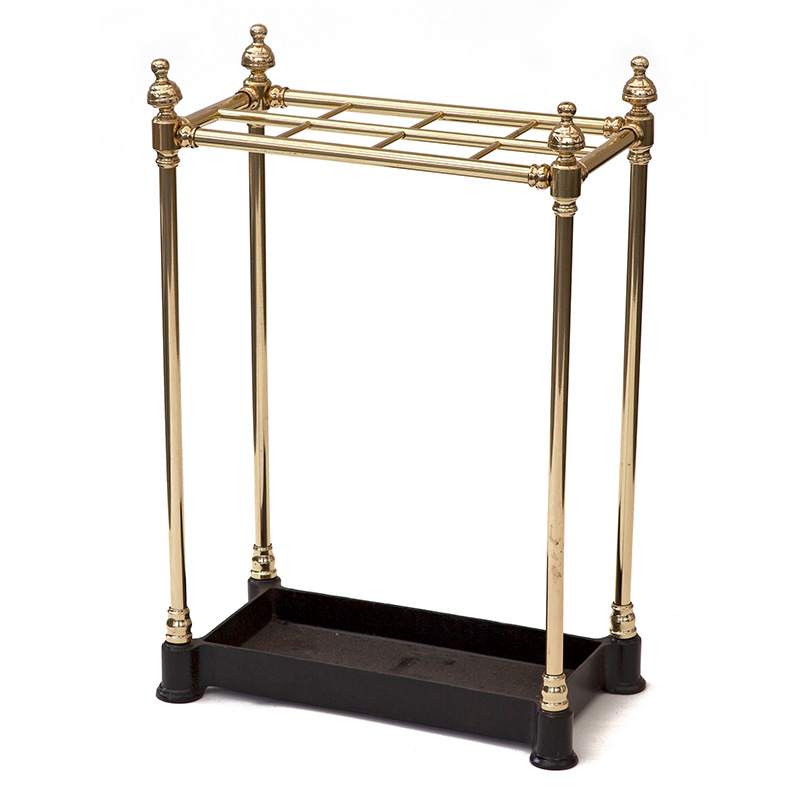 Antique eight section brass and cast iron stick or umbrella stand. c.1900.