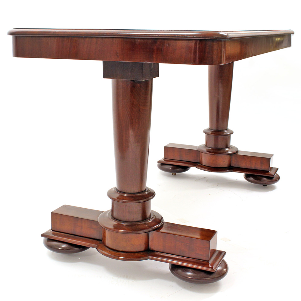 Antique mahogany library table with inset dark maroon leather c.1840.