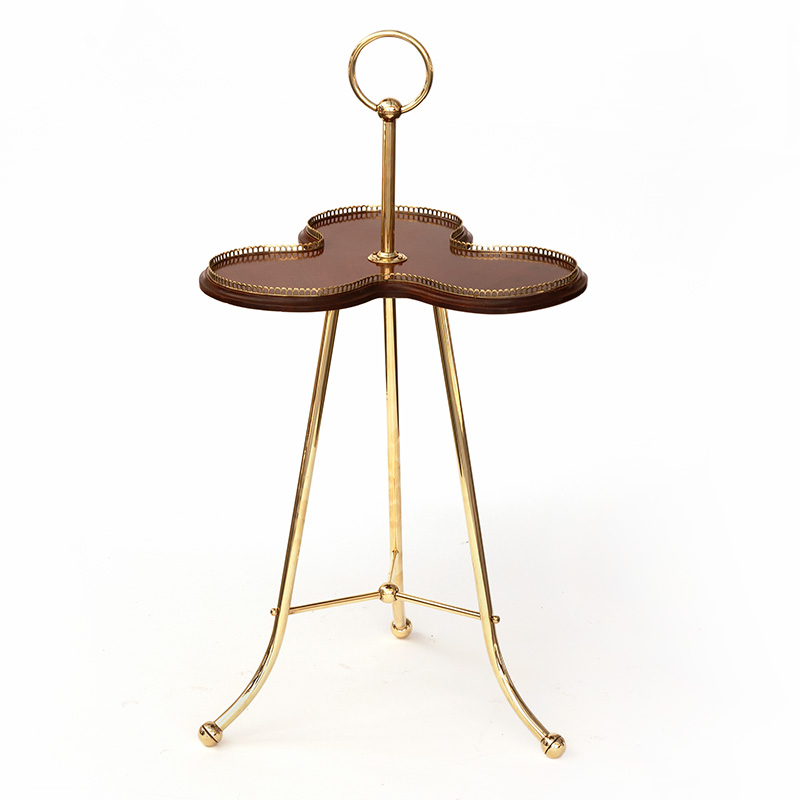 Halls Patent Brass and Mahogany Hotel Cocktail lounge Drinks Table