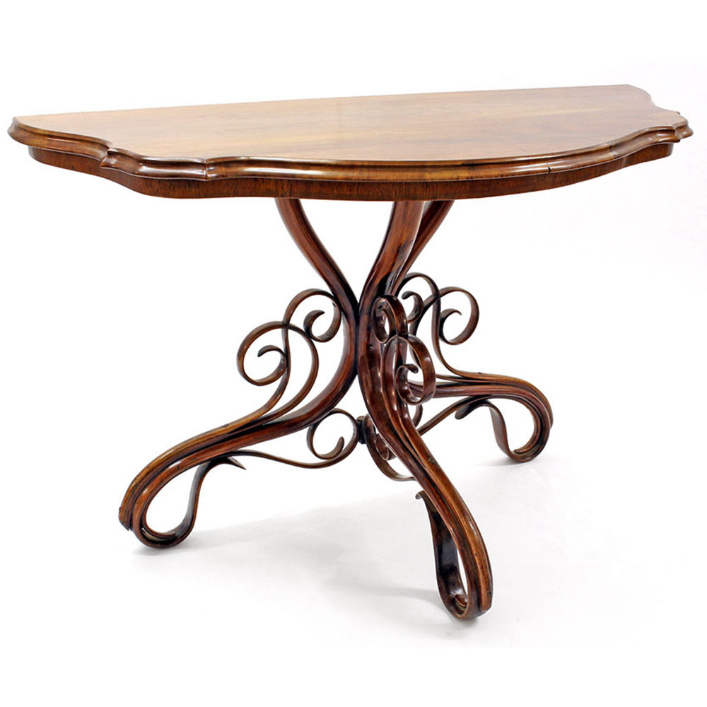 Antique Mahogany Topped Bentwood Console Table by Thonet