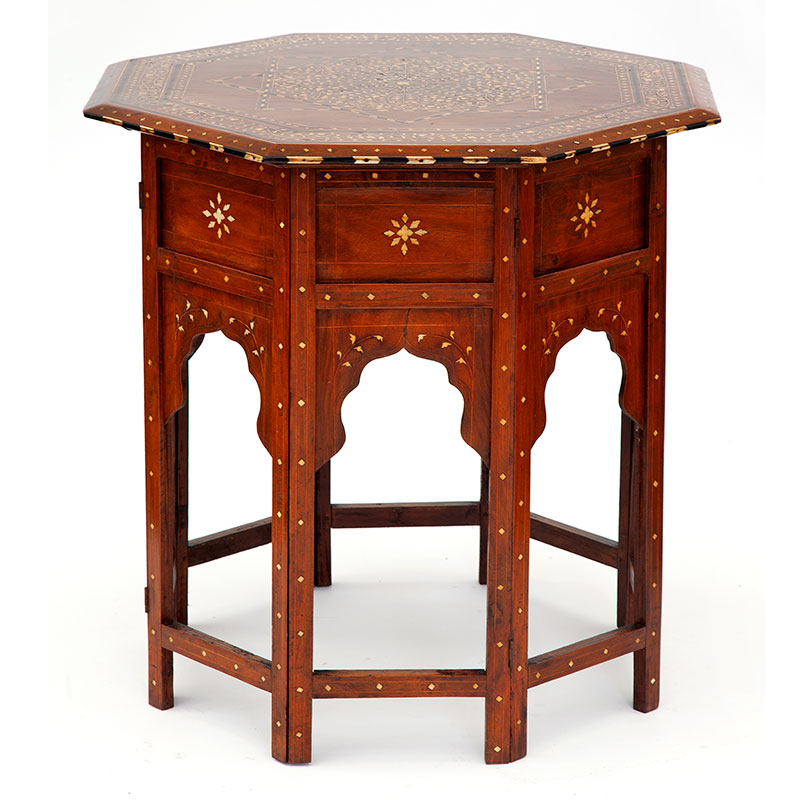 Large Antique Octagonal Anglo Indian Hoshiarpur Table