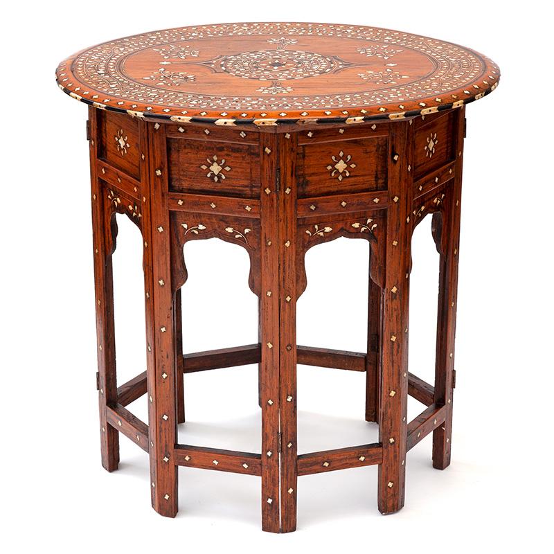 Antique Oval Hoshiarpur Table with Bone and Ebony Inlaid Top