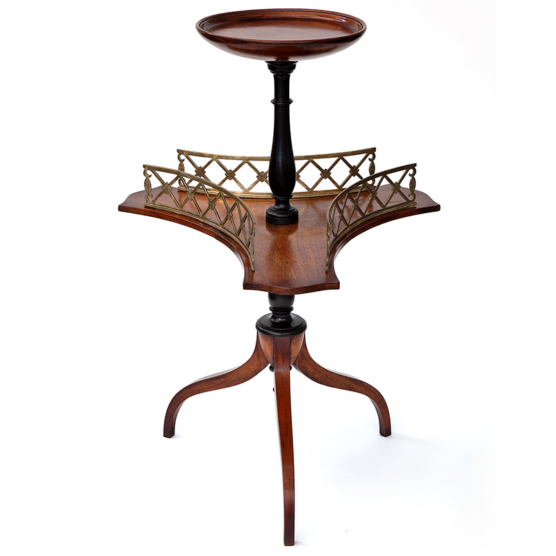 Antique part ebonized polished walnut tripod wine table with brass gallery. c.1870.