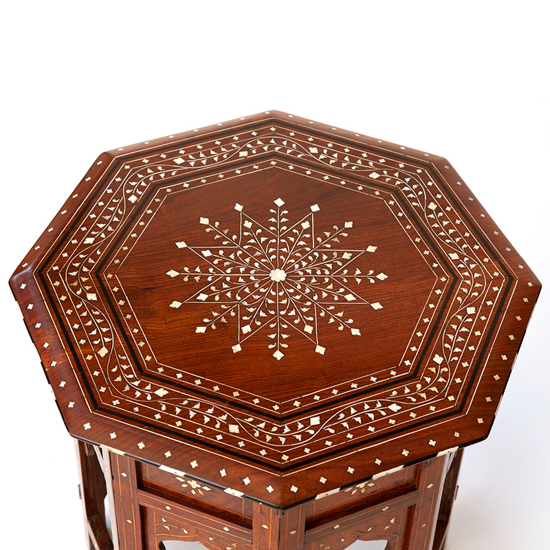 Antique Hoshiapur Table with Bone and Ebony Inlaid Top