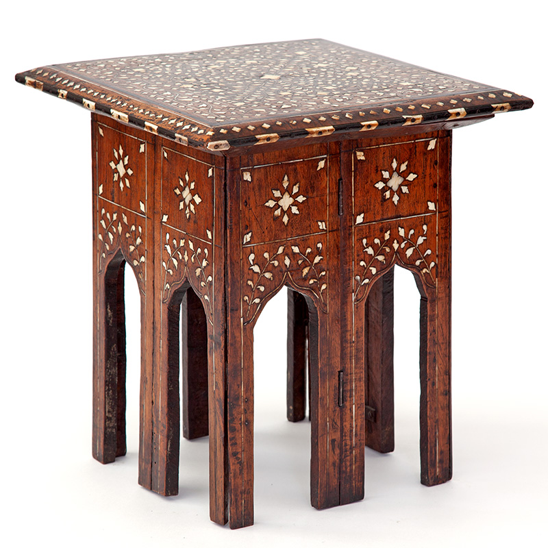 Miniature antique square folding base Sheesham wood Hoshiarpur inlaid table