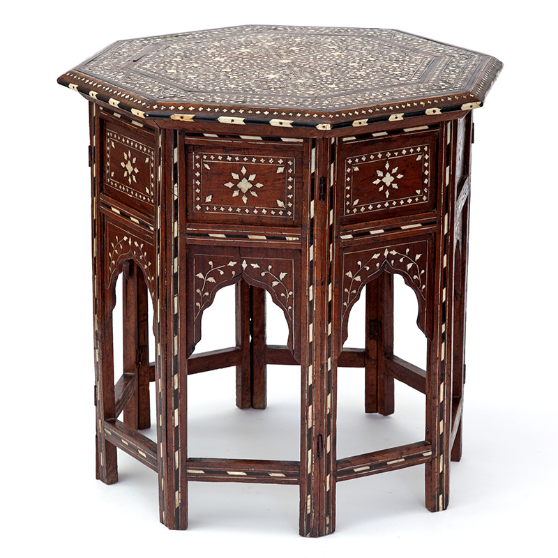 Profuse Sheesham wood octagonal Hoshiapur folding table c.1900